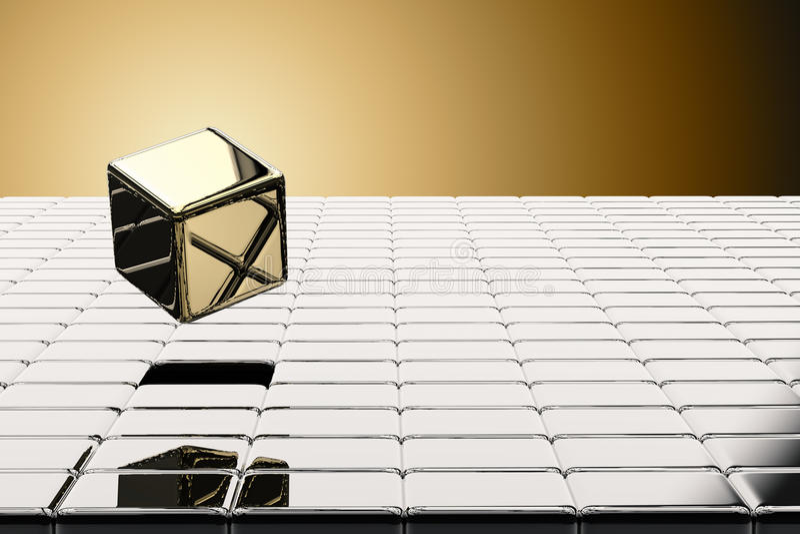 El oro cúbico surge ilustración del vector