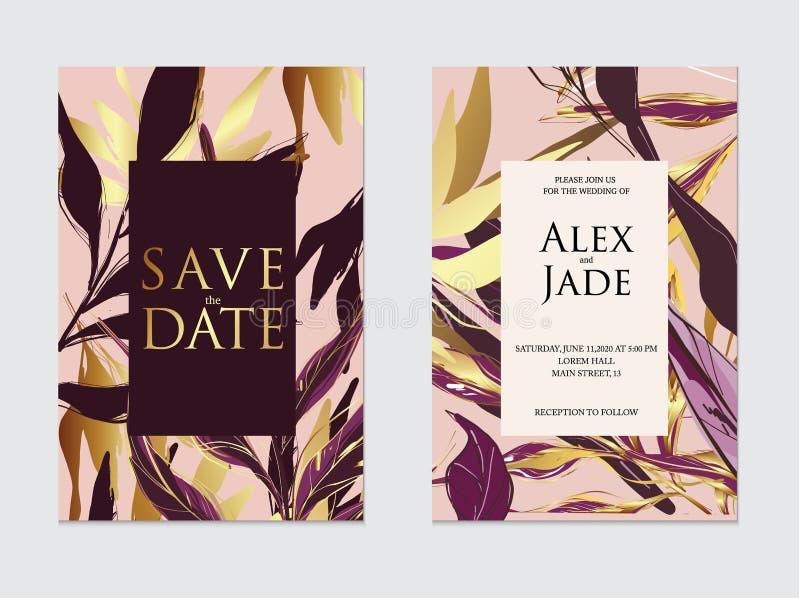 El oro, el oro color de rosa, la violeta oscura y la plantilla tropical de la invitación de boda de la palma negra, las cubiertas stock de ilustración