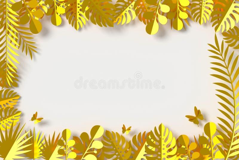 El oro deja el estilo del papel, rosa colorida, arte de papel floral, mosca del papel de la mariposa, representación 3d, con la t fotos de archivo