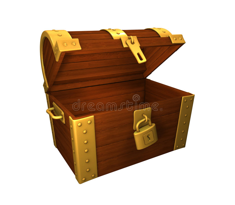 El oro del pecho de tesoro abierto y se abre stock de ilustración