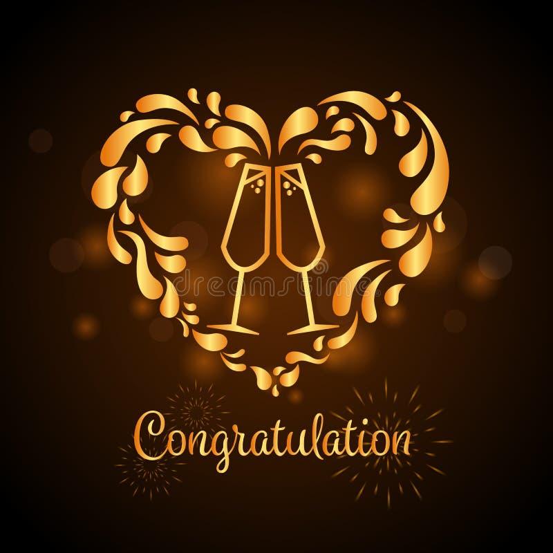 El oro dos vidrios de champán con forma del corazón salpica diseño del vector del texto de la muestra y de la enhorabuena libre illustration