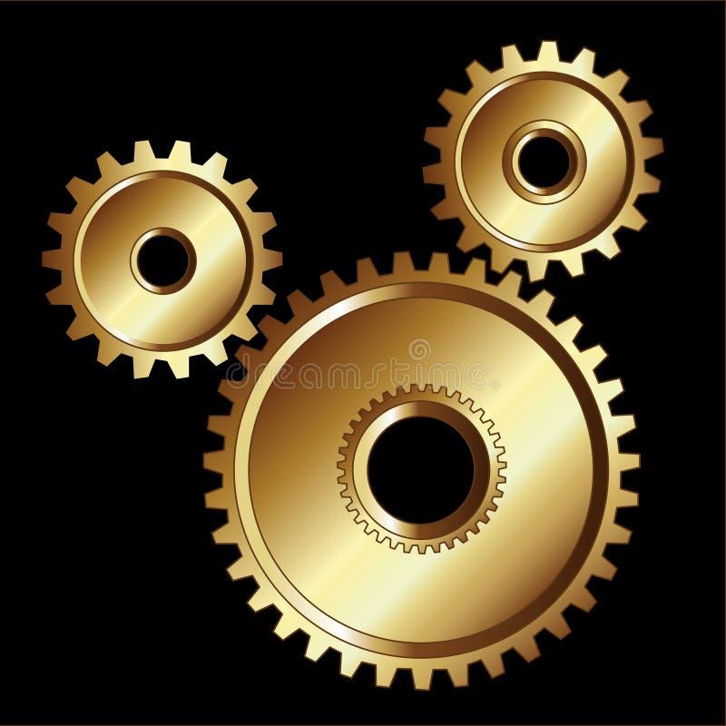 El oro engrana las herramientas de la maquinaria stock de ilustración