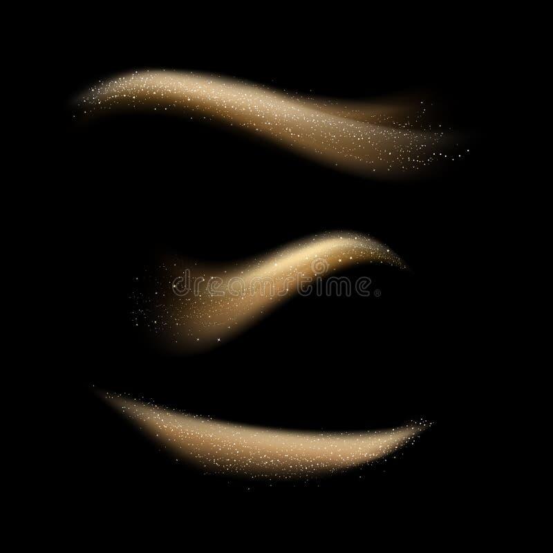 El oro que riela las ondas mágicas de la curva con efecto luminoso aisladas sobre fondo abstracto negro, protagoniza la dispersió ilustración del vector