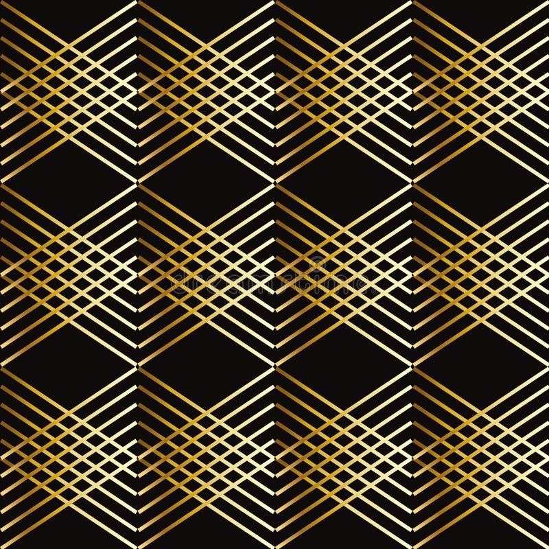 El oro raya el modelo geométrico stock de ilustración