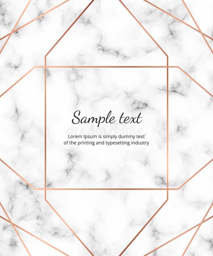 El oro subió las líneas geométricas en la textura de mármol blanca Diseño minimalista Fondo moderno para la invitación, tarjeta,  ilustración del vector