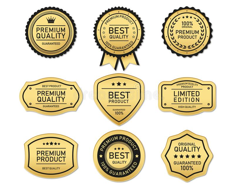 El oro y el claro mejores y superiores de la etiqueta de la calidad stock de ilustración