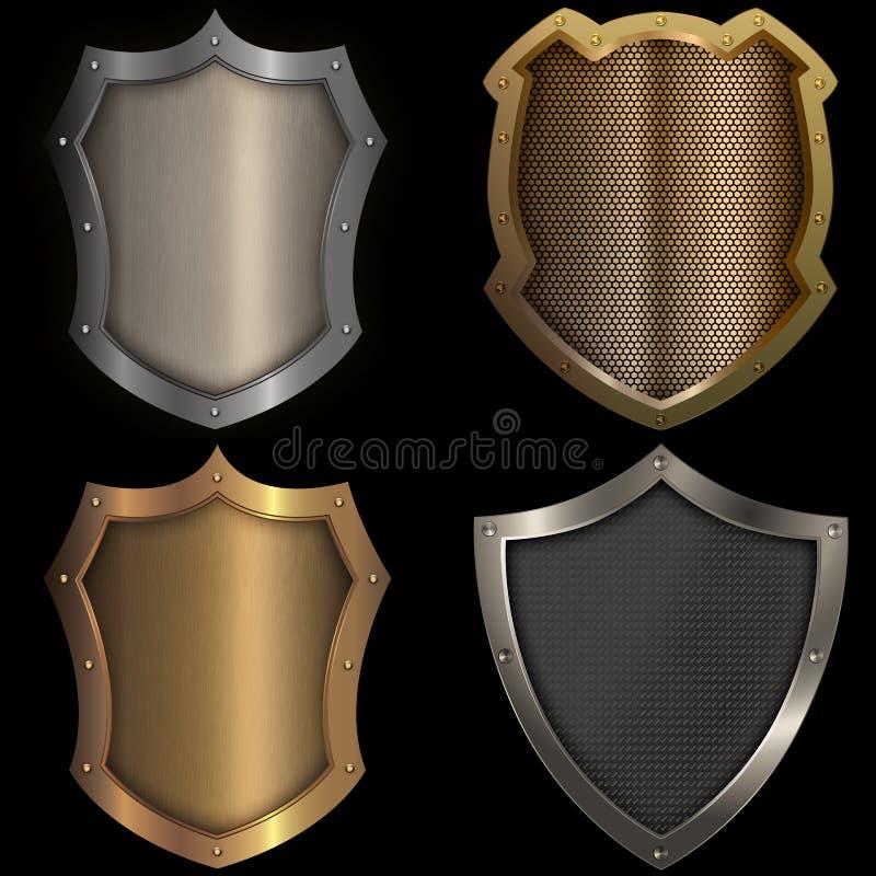 El oro y los escudos de plata fijaron en fondo negro ilustración del vector