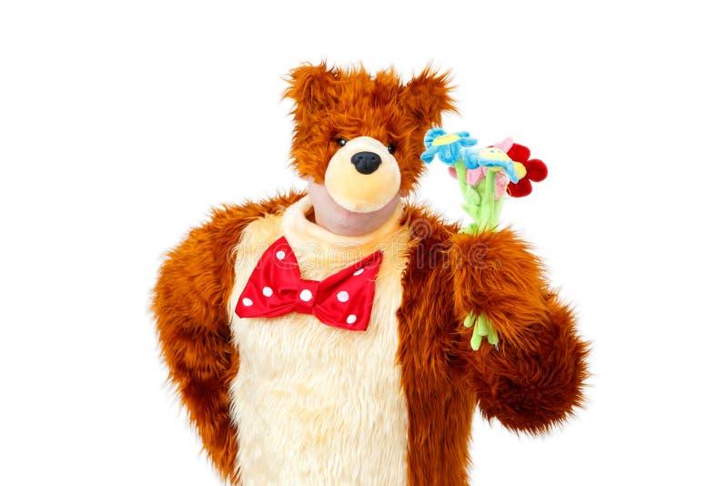 El oso anormal con el juguete florece en el fondo blanco fotografía de archivo