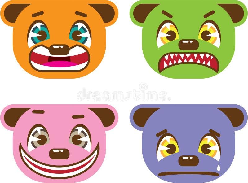 El oso asiático del estilo hace frente a vector ilustración del vector