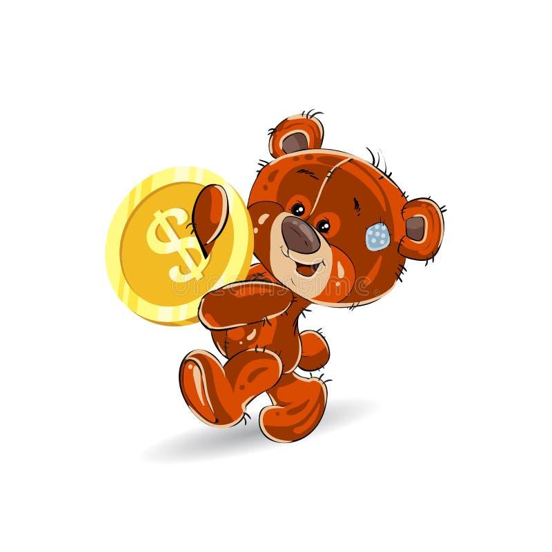 El oso de peluche alegre, en manos lleva un dólar del oro, una historieta o libre illustration