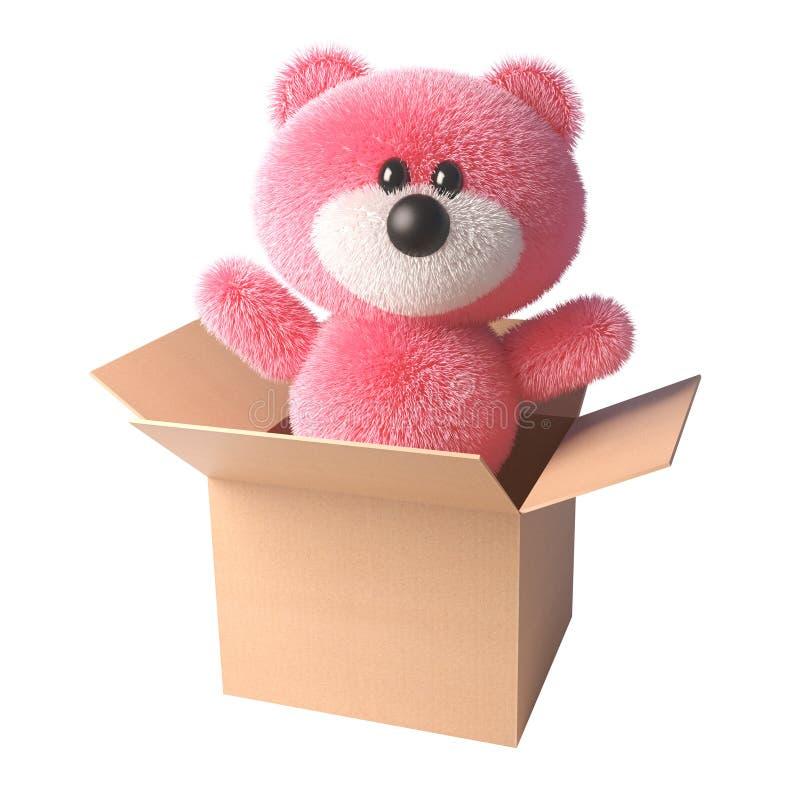El oso de peluche con la piel rosada suave sorprende todo el mundo apareciendo fuera de una caja de cartón, ejemplo 3d stock de ilustración