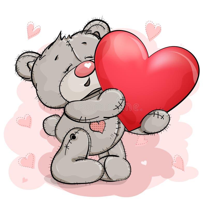 El oso de peluche feliz aumenta para arriba un corazón rojo grande libre illustration