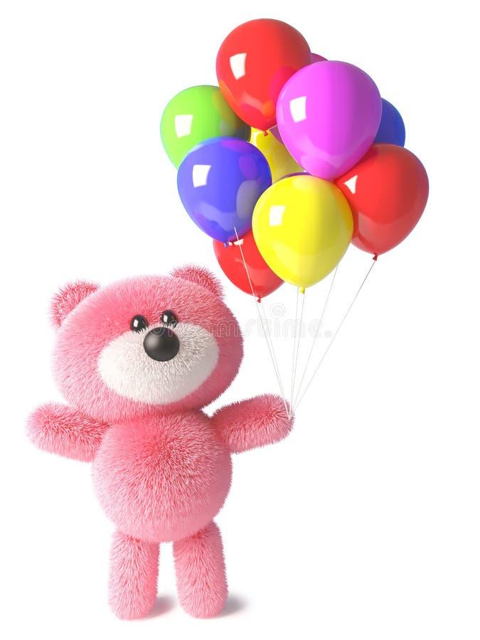 El oso de peluche feliz con la piel mullida rosada tiene globos del partido para una celebración, ejemplo 3d stock de ilustración