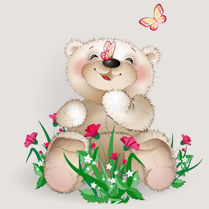 El oso de peluche feliz se sienta en flores de un prado stock de ilustración