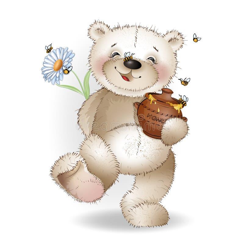 El oso de peluche feliz viene con un regalo al pote de la miel ilustración del vector