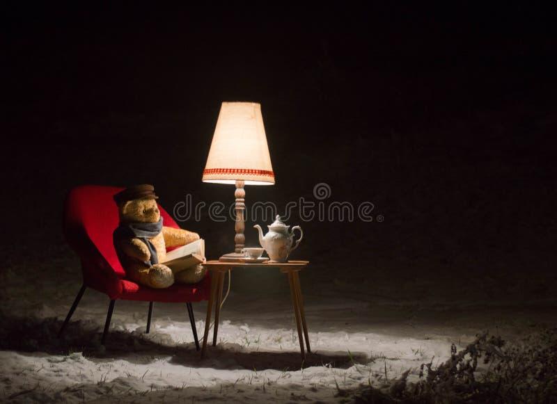 El oso de peluche leyó un libro afuera en una noche del invierno - escena surrealista foto de archivo