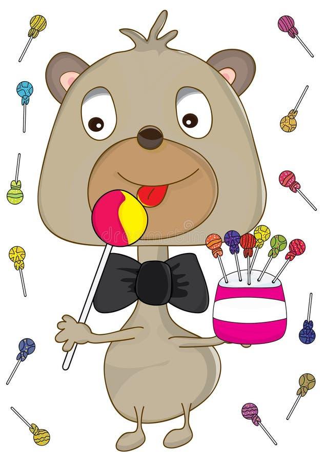 El oso del bebé come el caramelo ilustración del vector