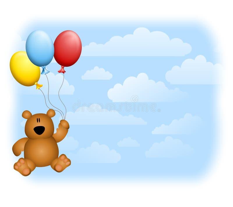 El oso del peluche hincha el cielo ilustración del vector