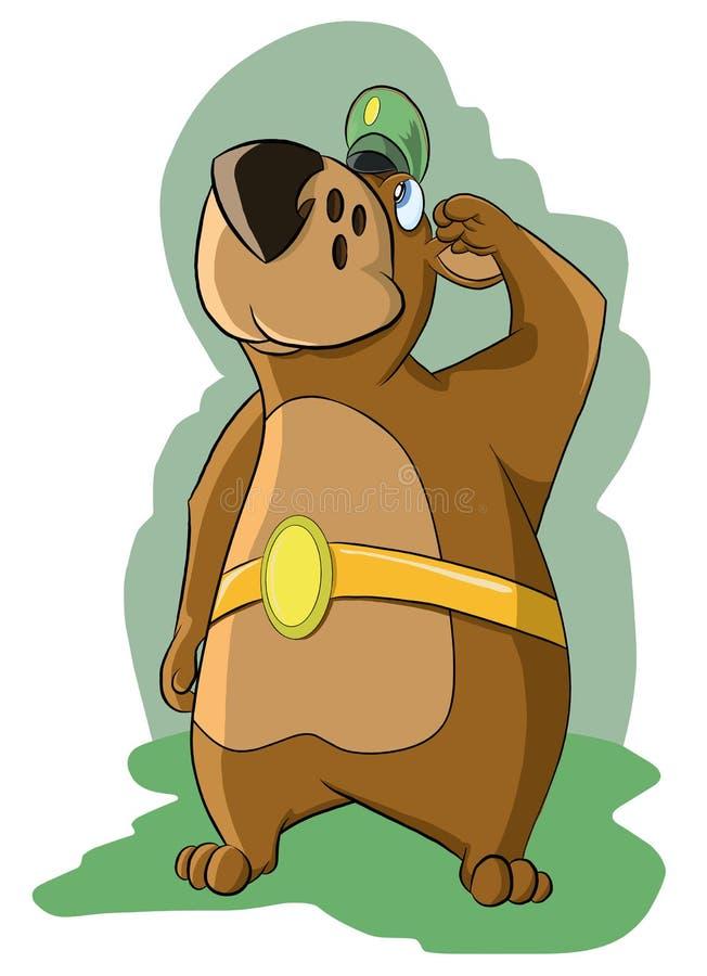 El oso divertido en casquillo militar, da saludo libre illustration