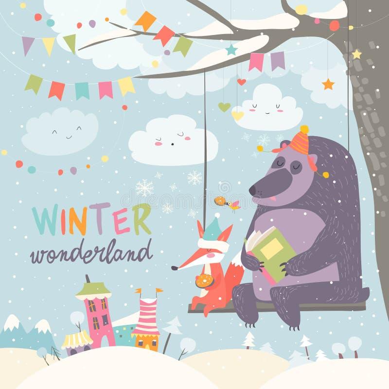 El oso divertido y el zorro que balancean en invierno parquean libre illustration