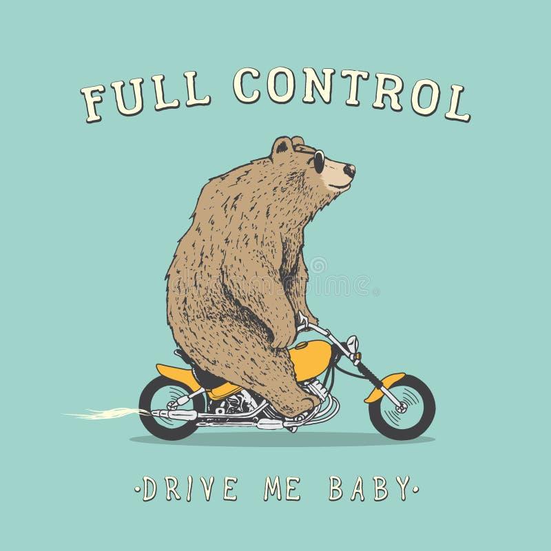 El oso está montando en la motocicleta ilustración del vector