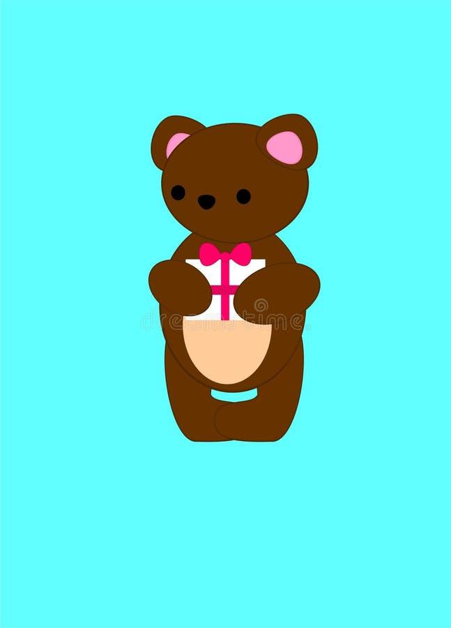 El oso fue presentado con un regalo El cachorro de oso tiene un cumpleaños libre illustration