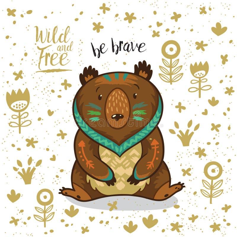 El oso indio del ejemplo lindo con el texto sea valiente stock de ilustración