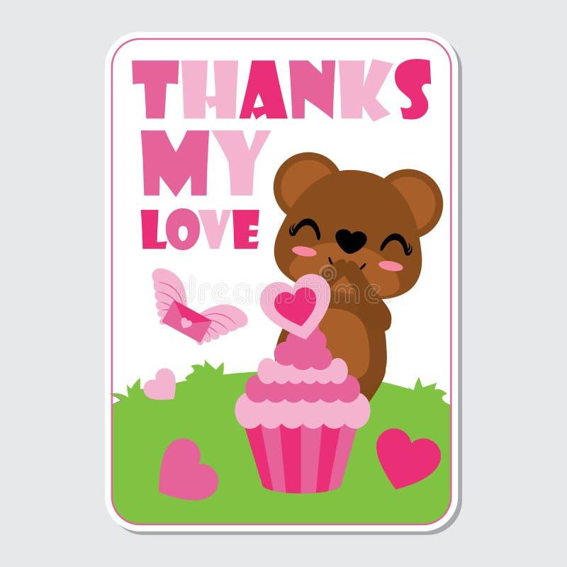 El oso lindo es feliz consigue amor rosado de la magdalena en el ejemplo de la historieta del jardín para el diseño de tarjeta fe stock de ilustración