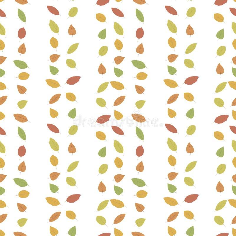 El otoño caido deja amarillo brillante multicolor, rojo, las rayas verticales del verde aisladas en modelo inconsútil del vector  stock de ilustración