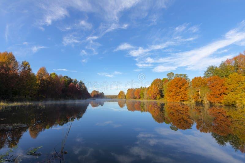 El otoño coloreó árboles refleja en el agua en el lago fotografía de archivo libre de regalías