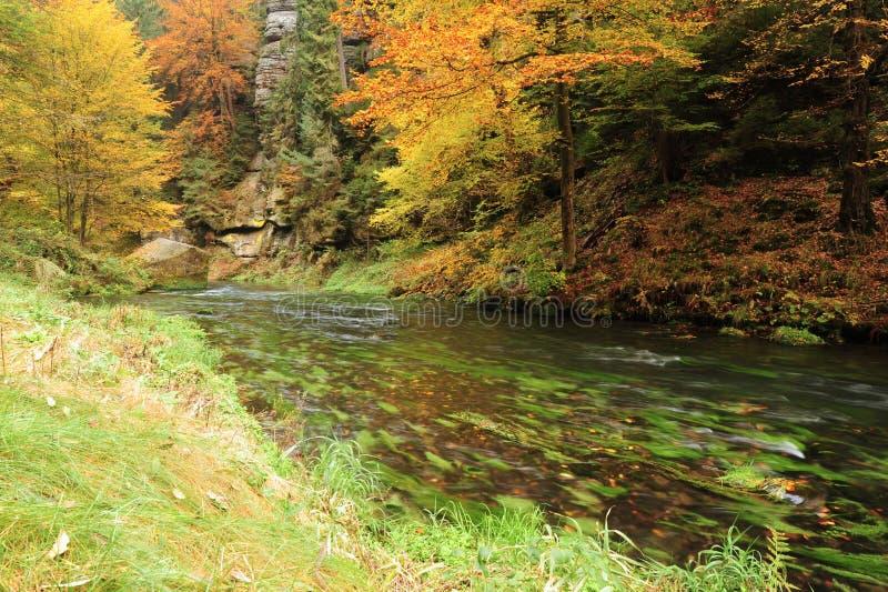 El otoño colorea el río imagen de archivo