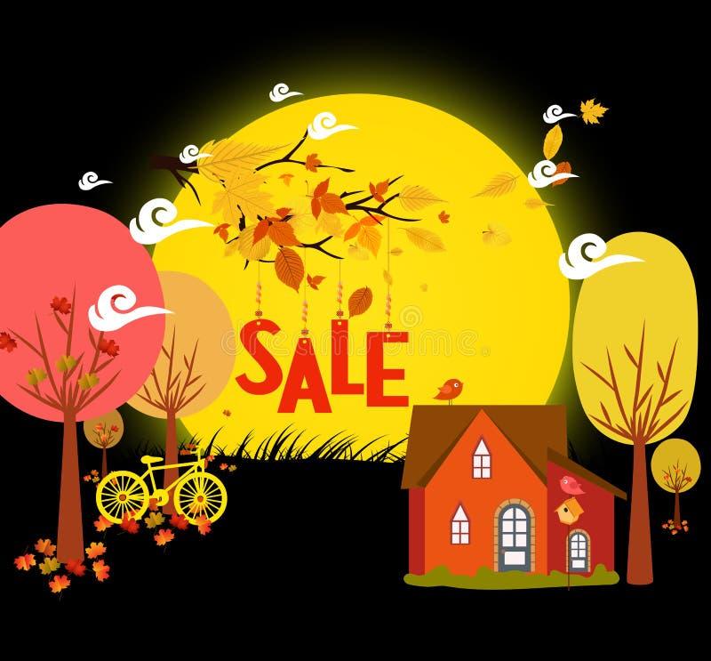 El otoño de las ventas con el fondo deja caer y la bicicleta bajo claro de luna libre illustration