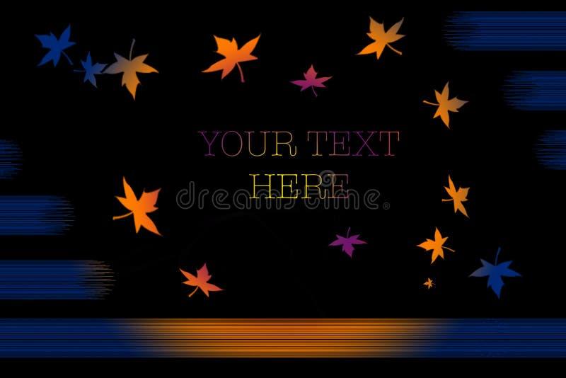 El otoño deja una tarjeta de visita rosa su texto aquí stock de ilustración