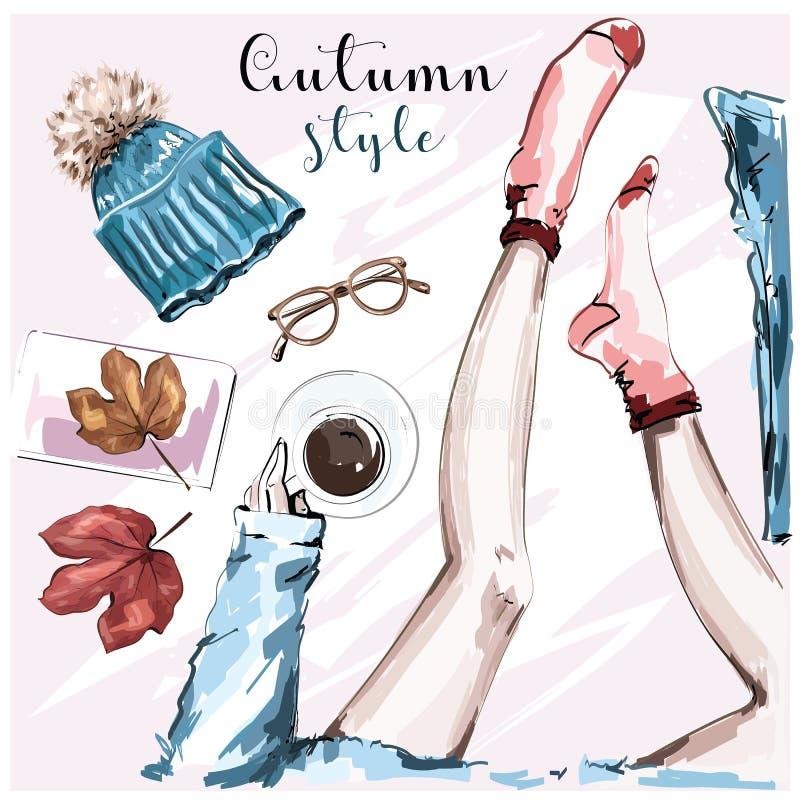 El otoño elegante dibujado mano fijado con la taza de café, hojas de otoño, piernas en calcetines, hizo punto el sombrero, las le stock de ilustración