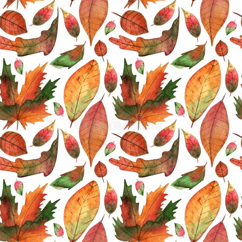 El otoño exhausto de la acuarela de la mano deja el ejemplo inconsútil del modelo para la fabricación, el papel, la materia texti ilustración del vector