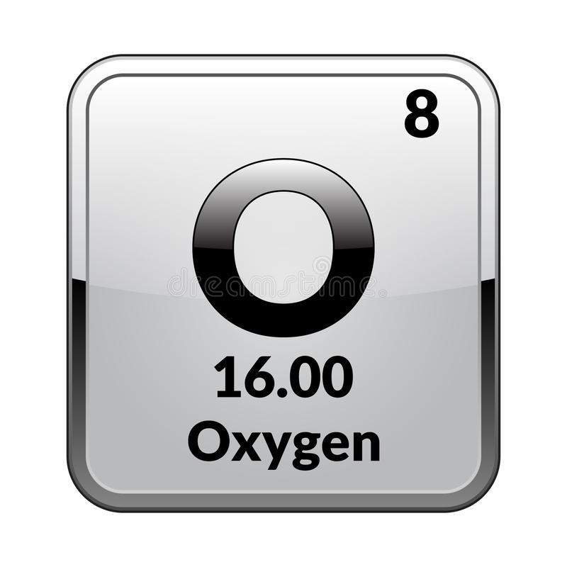 El oxígeno del elemento de tabla periódica Vector stock de ilustración