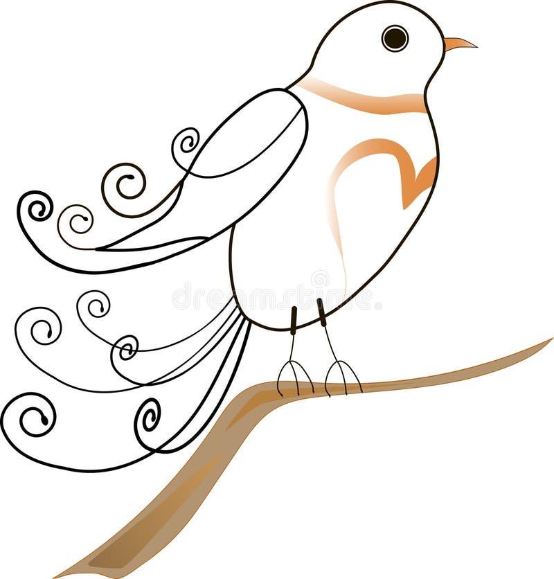El pájaro agraciado en una rama libre illustration