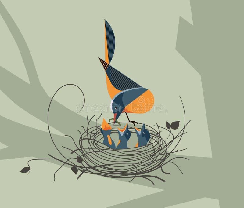 El pájaro alimenta los polluelos en la jerarquía ilustración del vector