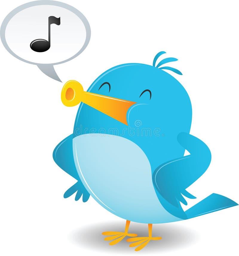 El pájaro azul canta stock de ilustración
