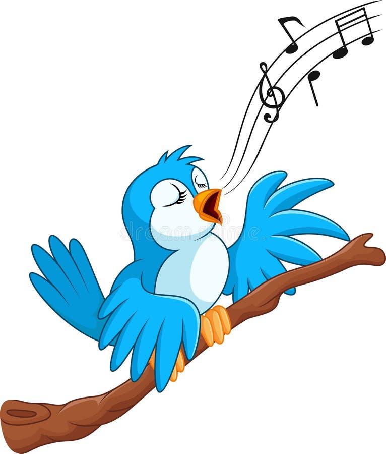 El pájaro de la historieta canta en la rama stock de ilustración