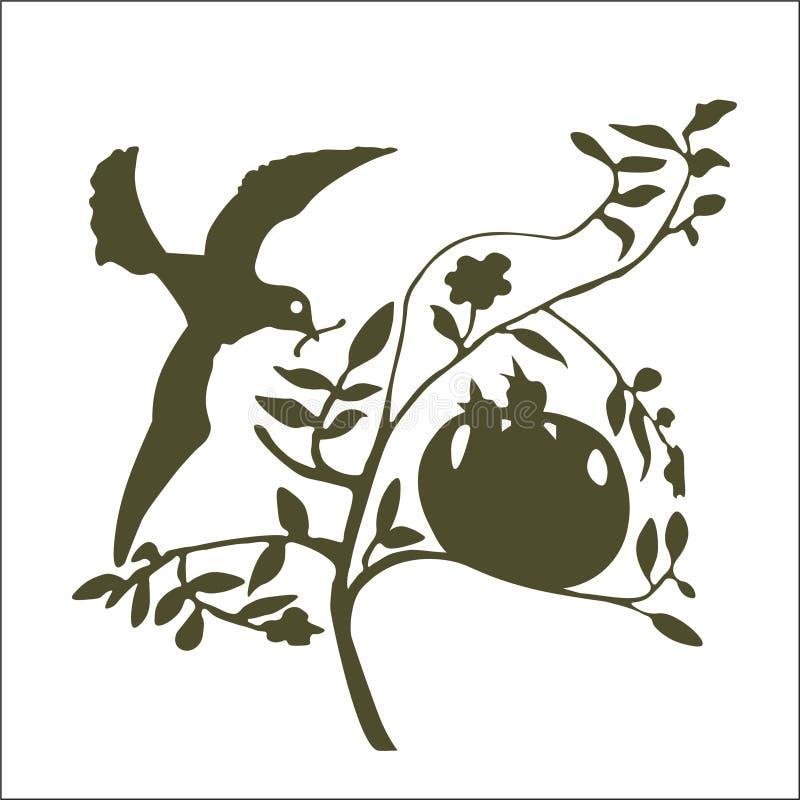 El pájaro de la madre que cuida lleva un gusano a los polluelos hambrientos libre illustration