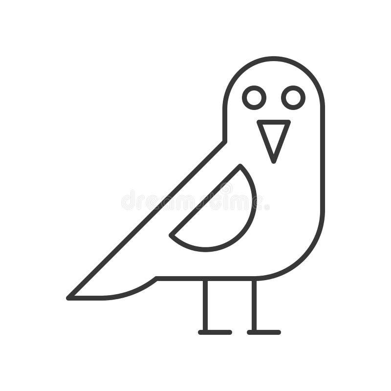 El pájaro del cuervo, Halloween relacionó el icono, movimiento editable del esquema ilustración del vector