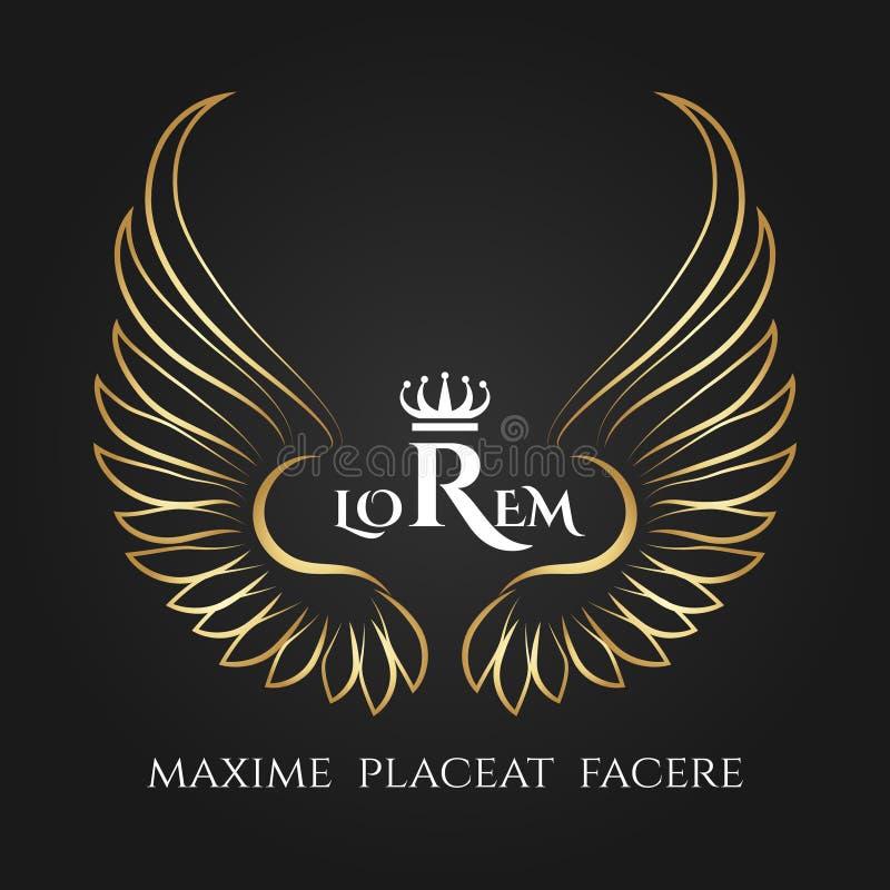 El pájaro del oro se va volando el logotipo del vector Etiqueta coa alas ángel de oro del negocio ilustración del vector