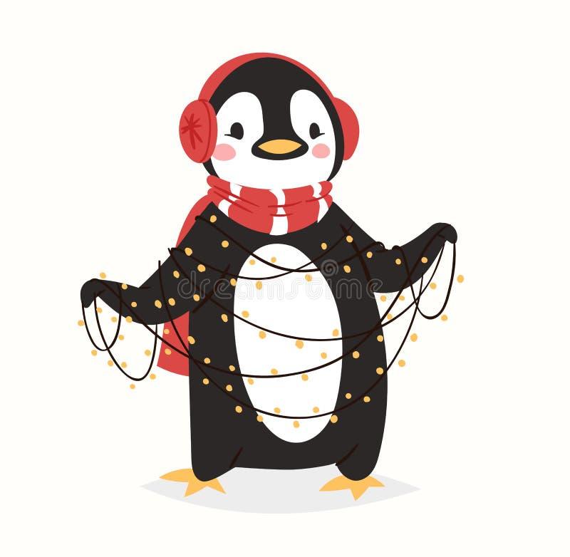 El pájaro lindo de la historieta del carácter del vector del pingüino de la Navidad celebra el ejemplo feliz de la sonrisa de la  ilustración del vector