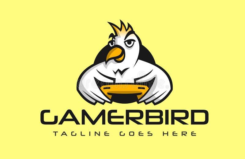 El pájaro que sostiene un regulador que juega a los videojuegos vector el logotipo stock de ilustración