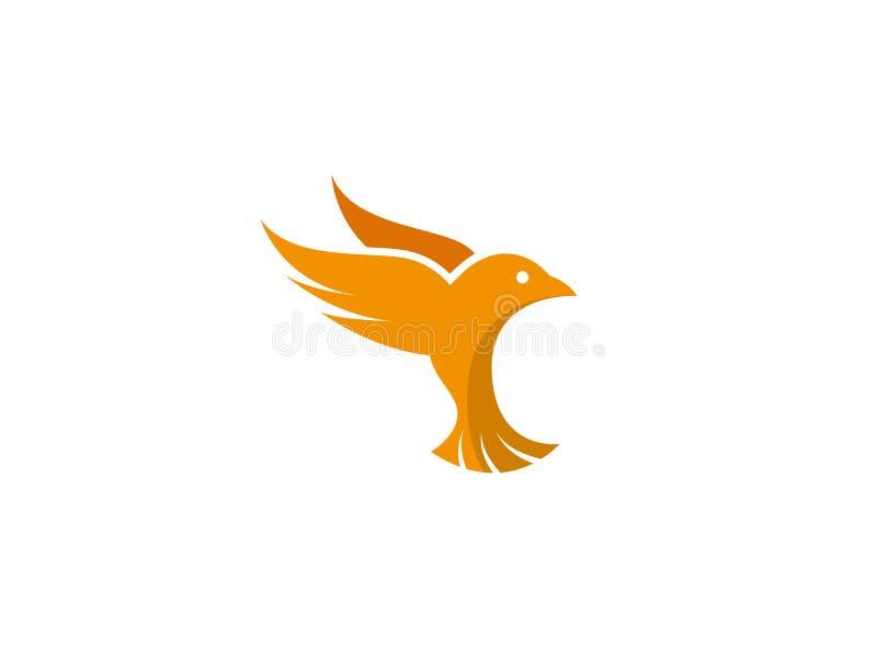 El pájaro se zambulló las alas abiertas y vuela para el ejemplo del esign del logotipo ilustración del vector