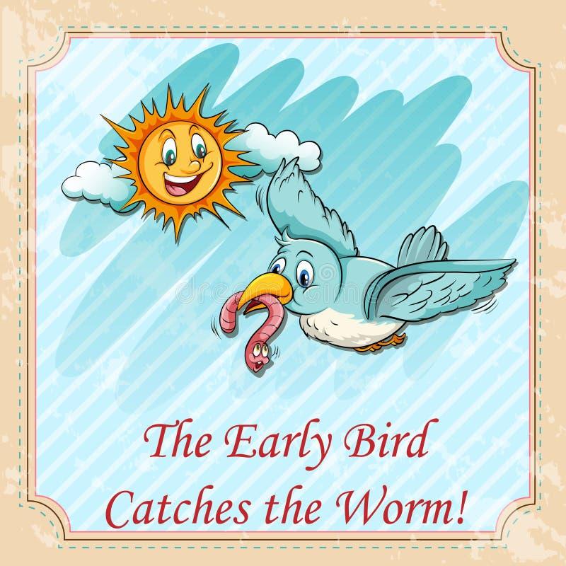 El pájaro temprano coge los gusanos ilustración del vector