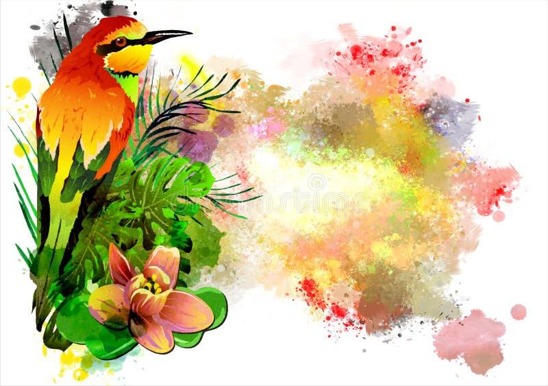 El pájaro tropical en las flores en el fondo de la pintura multicolora salpica stock de ilustración