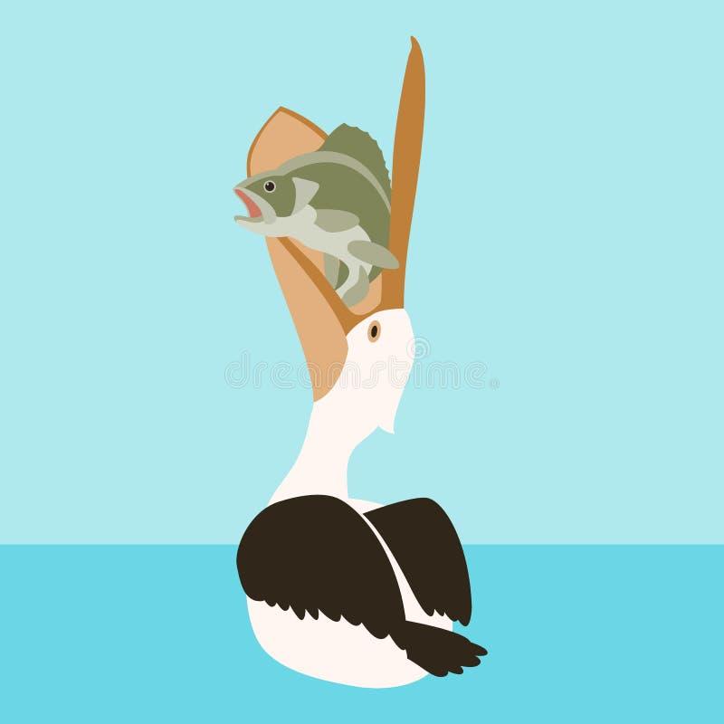 El pájaro y los pescados del pelícano de la natación vector el plano del ejemplo stock de ilustración
