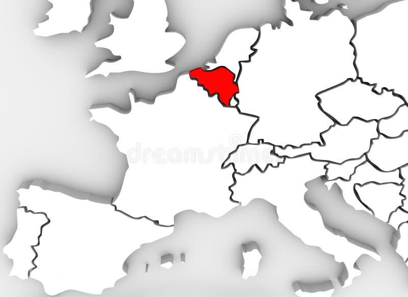 El país 3D de Bélgica resume el continente ilustrado de Europa del mapa stock de ilustración